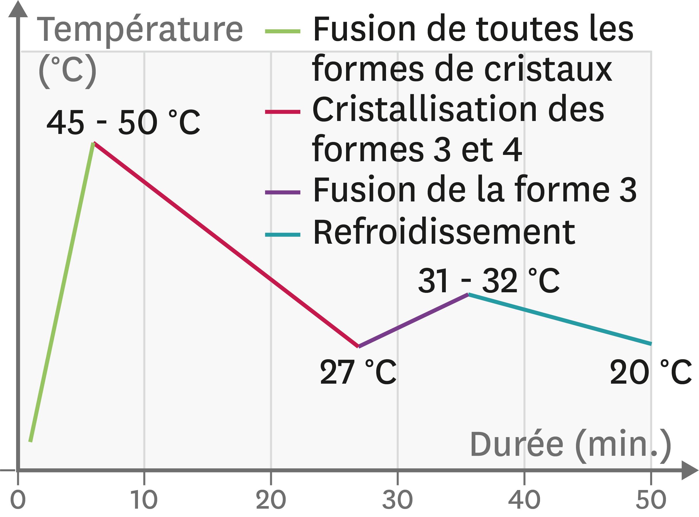 <stamp theme='pc-green1'>Doc. 2</stamp> Courbe de température à suivre pour sélectionner les cristaux de forme 4.