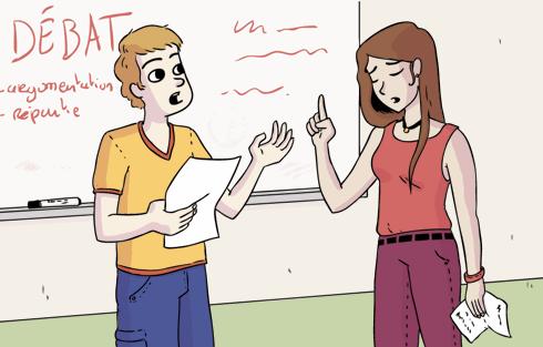 Deux collégiens qui débattent