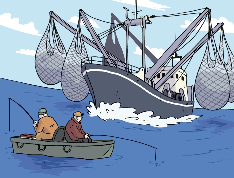 <stamp theme='svt-green1'>Doc. 1</stamp> Une caricature de l'exploitation des ressources halieutiques.