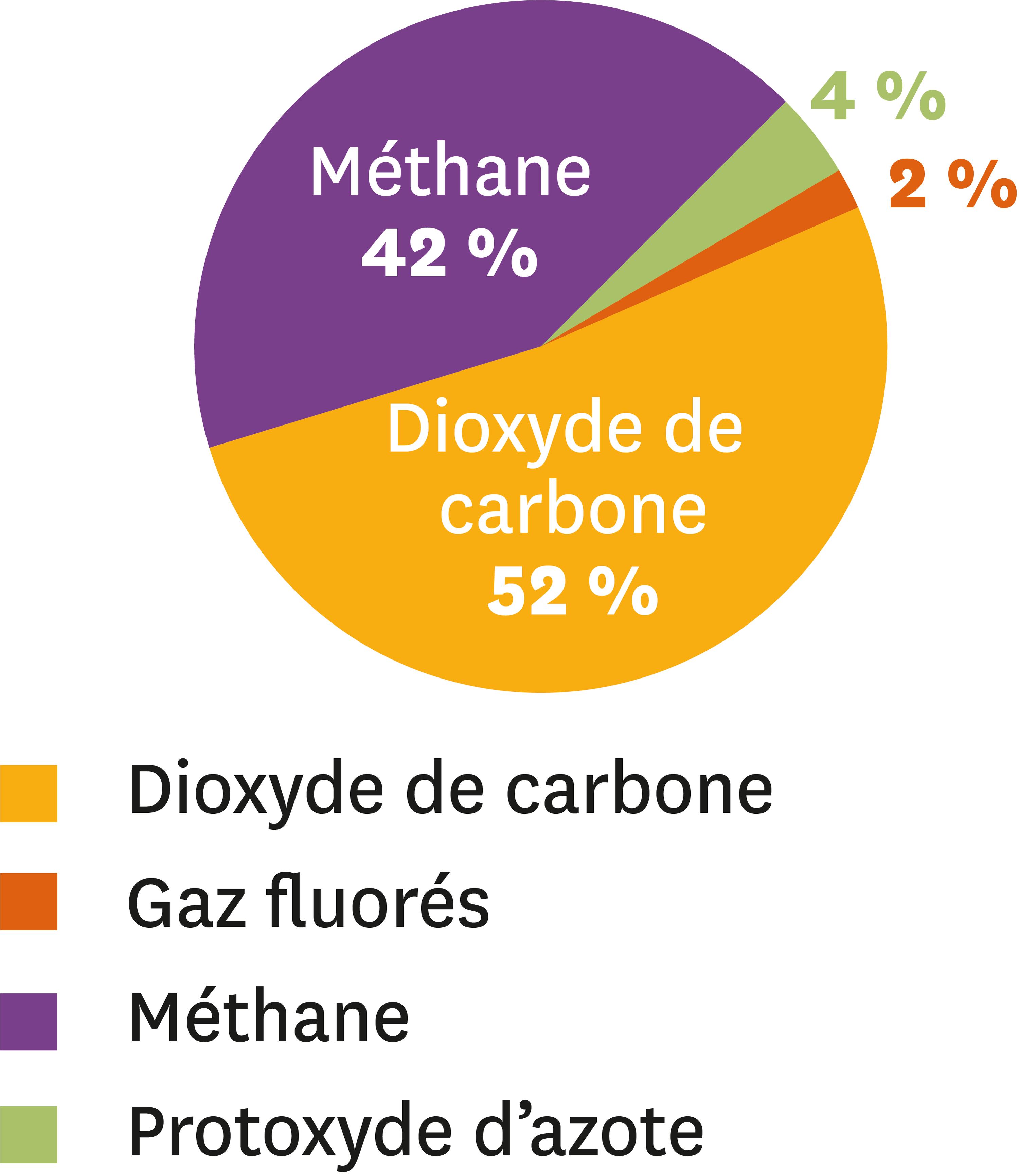 <stamp theme='svt-green1'>Doc. 2</stamp> Les émissions mondiales des gaz à effet de serre issues des activités humaines en 2010.