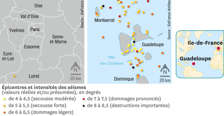 <stamp theme='svt-green1'>Doc. 1</stamp> La comparaison de la sismicité en Ile-de-France et en Guadeloupe depuis 1551.
