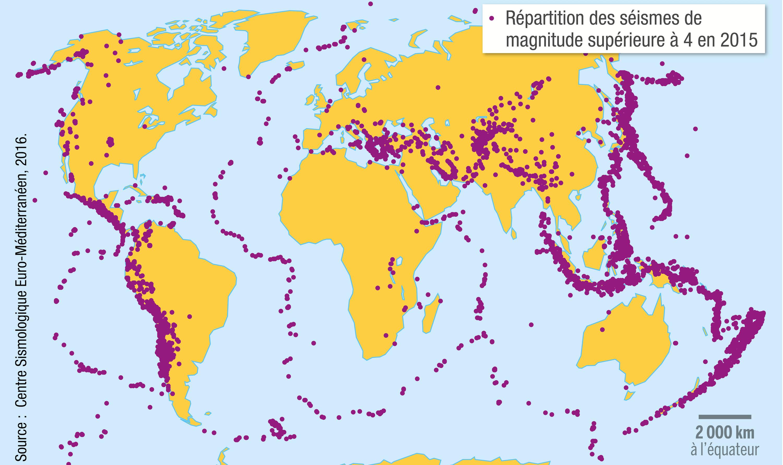 <stamp theme='svt-green1'>Doc. 2</stamp> La répartition mondiale des séismes en 2015.