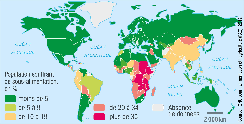 <stamp theme='svt-green1'>Doc. 1</stamp> La sous-alimentation dans le monde en 2012.