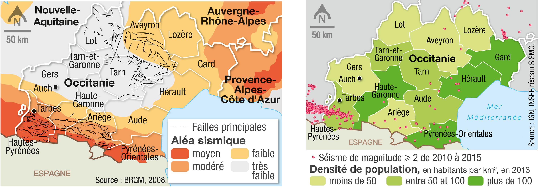 <stamp theme='svt-green1'>Doc. 1</stamp> Les cartes des aléas sismiques et de la densité de population en Occitanie.