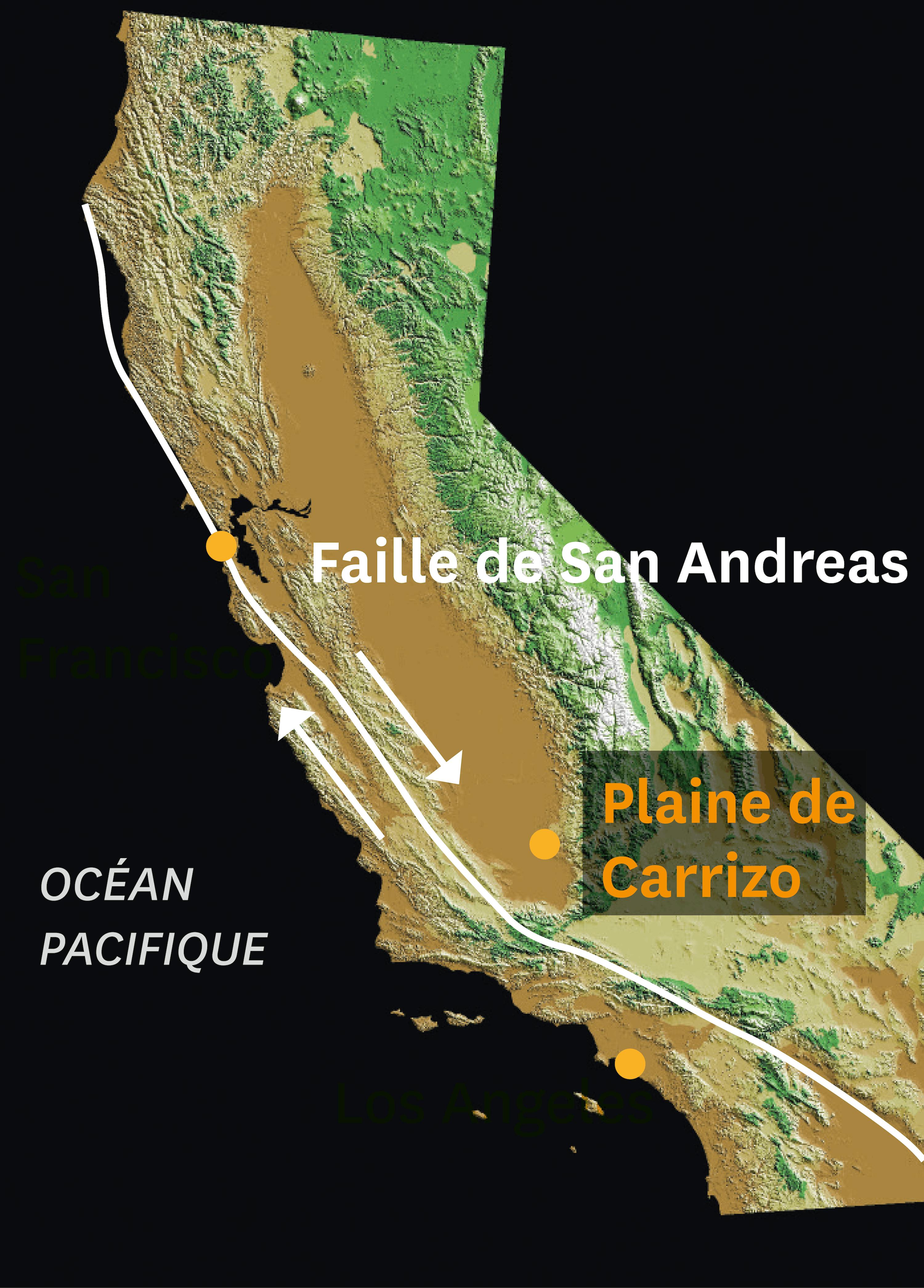<stamp theme='svt-green1'>Doc. 1</stamp> Image satellitaire montrant la faille de San Andreas.