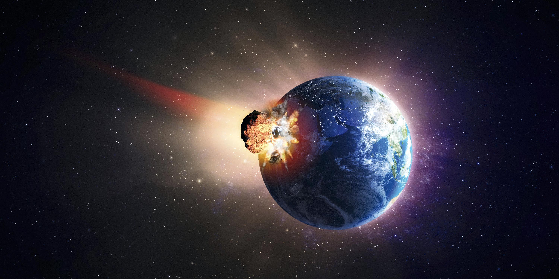 <stamp theme='svt-green1'>Doc. 3</stamp> Une cause d'extinction de certaines espèces : les chutes de météorites (vue d'artiste).