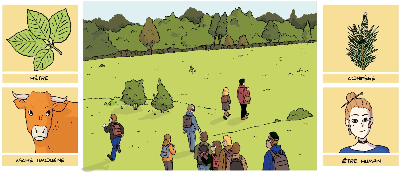 <stamp theme='svt-green1'>Doc. 1</stamp> Des collégiens en sortie de terrain, à la découverte de la biodiversité.