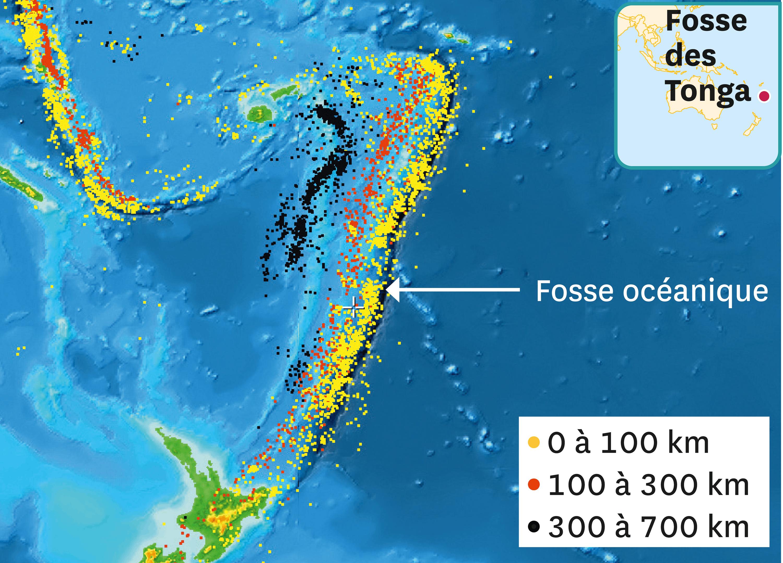 <stamp theme='svt-green1'>Doc. 2</stamp> Les profondeurs du foyer des séismes de la fosse des Tonga.