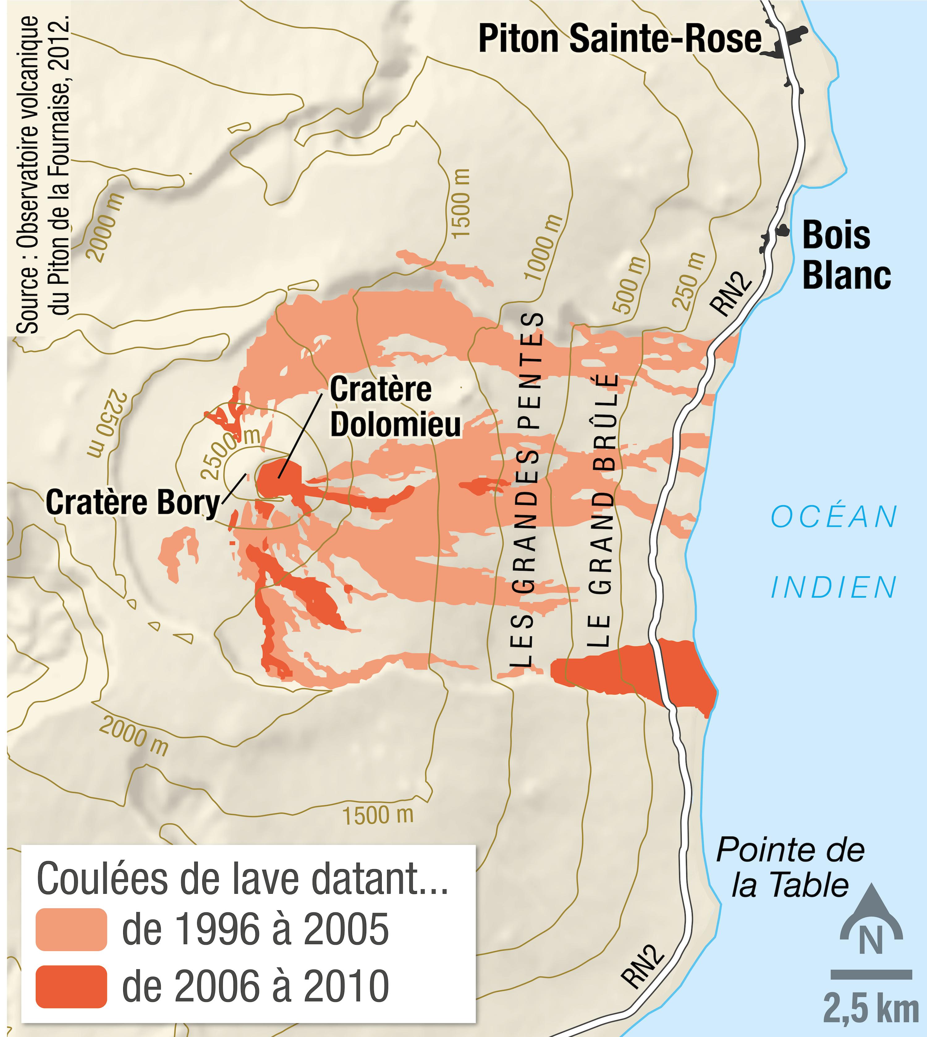 <stamp theme='svt-green1'>Doc. 2</stamp> La carte des coulées de lave du piton de la Fournaise, sur l'ile de La Réunion, entre 1996 et 2010.