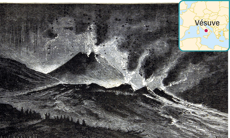 <stamp theme='svt-green1'>Doc. 1</stamp> Un croquis de l'éruption du Vésuve de 1858 par l'abbé C. Chevalier.