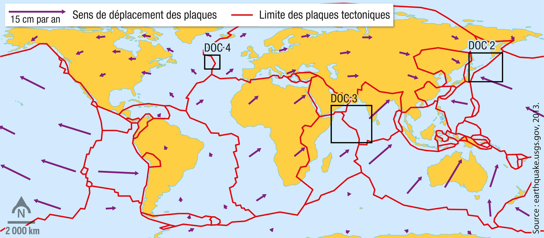 <stamp theme='svt-green1'>Doc. 1</stamp> Les sens de déplacement des plaques tectoniques à partir des données GPS.