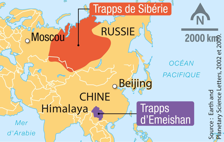 <stamp theme='svt-green1'>Doc. 2</stamp> Les trapps volcaniques à la transition Permien-Trias en Asie.