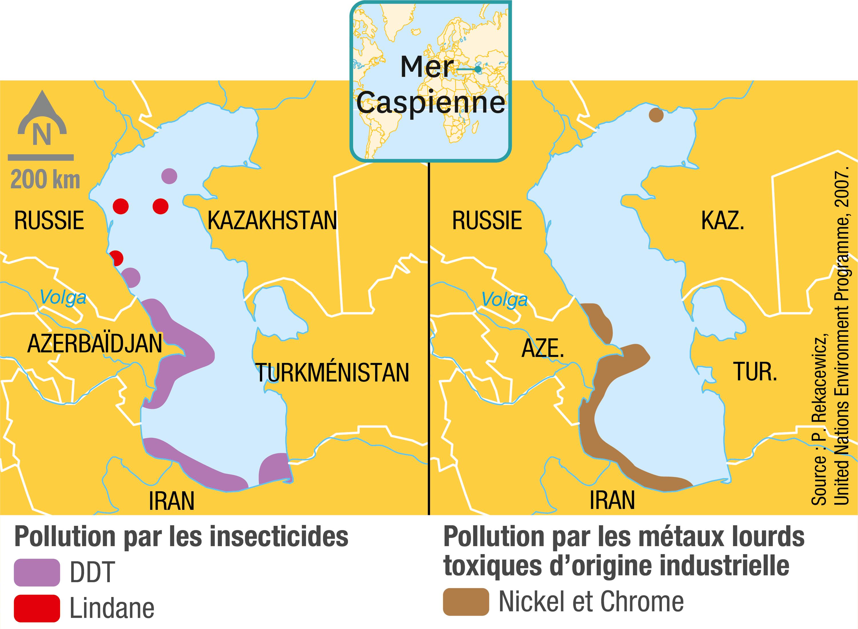 <stamp theme='svt-green1'>Doc. 6</stamp> Les polluants dans la mer Caspienne.
