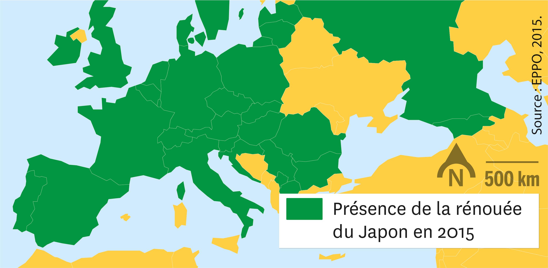 <stamp theme='svt-green1'>Doc. 1</stamp> La répartition de la renouée du Japon en 2015.