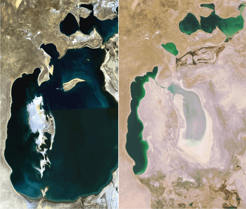 <stamp theme='svt-green1'>Doc. 2</stamp> Des images satellite de la Mer d'Aral en 1989 et 2008.