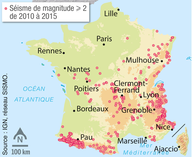 <stamp theme='svt-green1'>Doc. 3</stamp> La répartition des séismes de magnitude et plus en France entre 2010 et 2015.