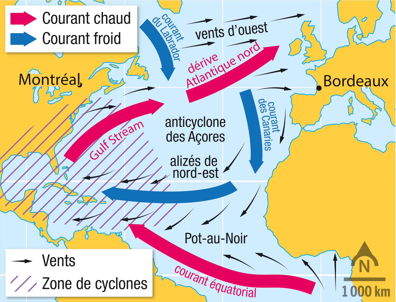 <stamp theme='svt-green1'>Doc. 6</stamp> Les courants marins et atmosphériques de l'Atlantique Nord.