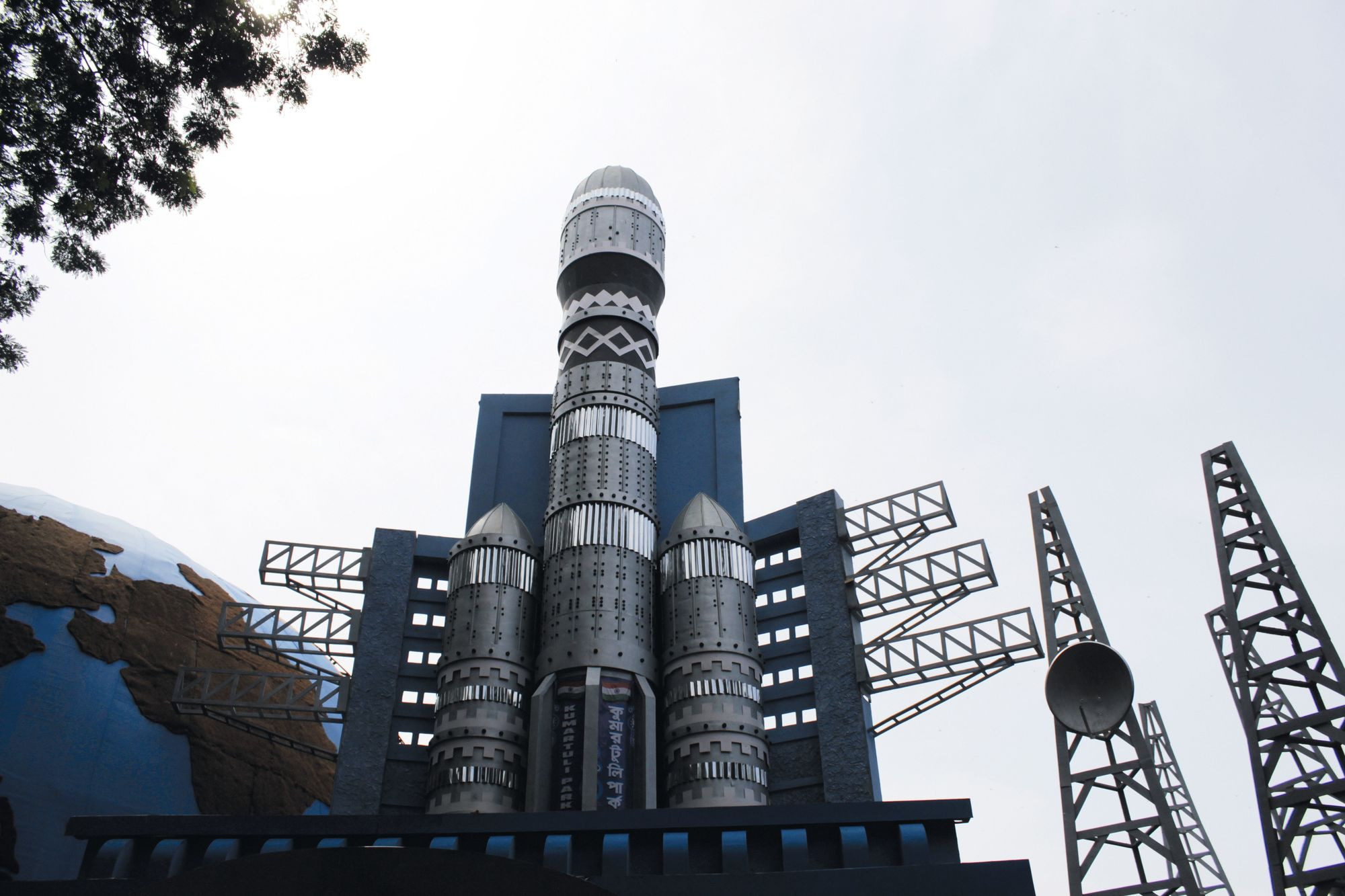 Space Rocket and towers theme during Durga Puja Festival, India, 2019.