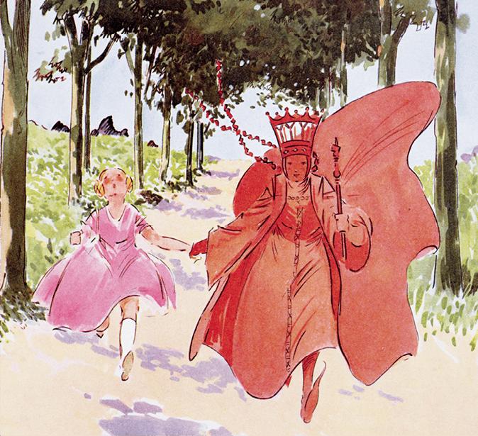Illustration d'Alice et la reine rouge qui courent, tout en restant à la même place