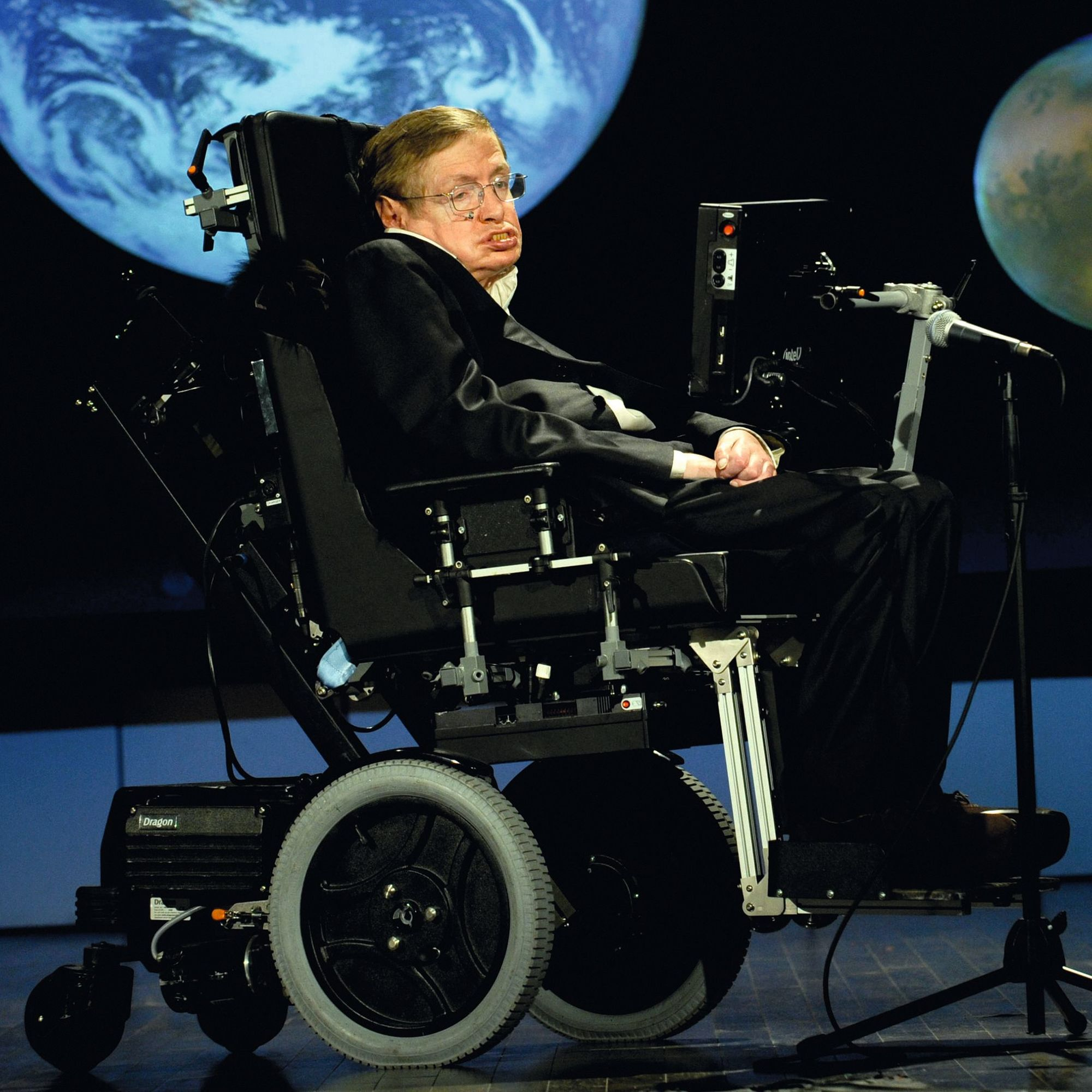 Stephen Hawking giving a lecture for NASA's 50th anniversary, 2008.