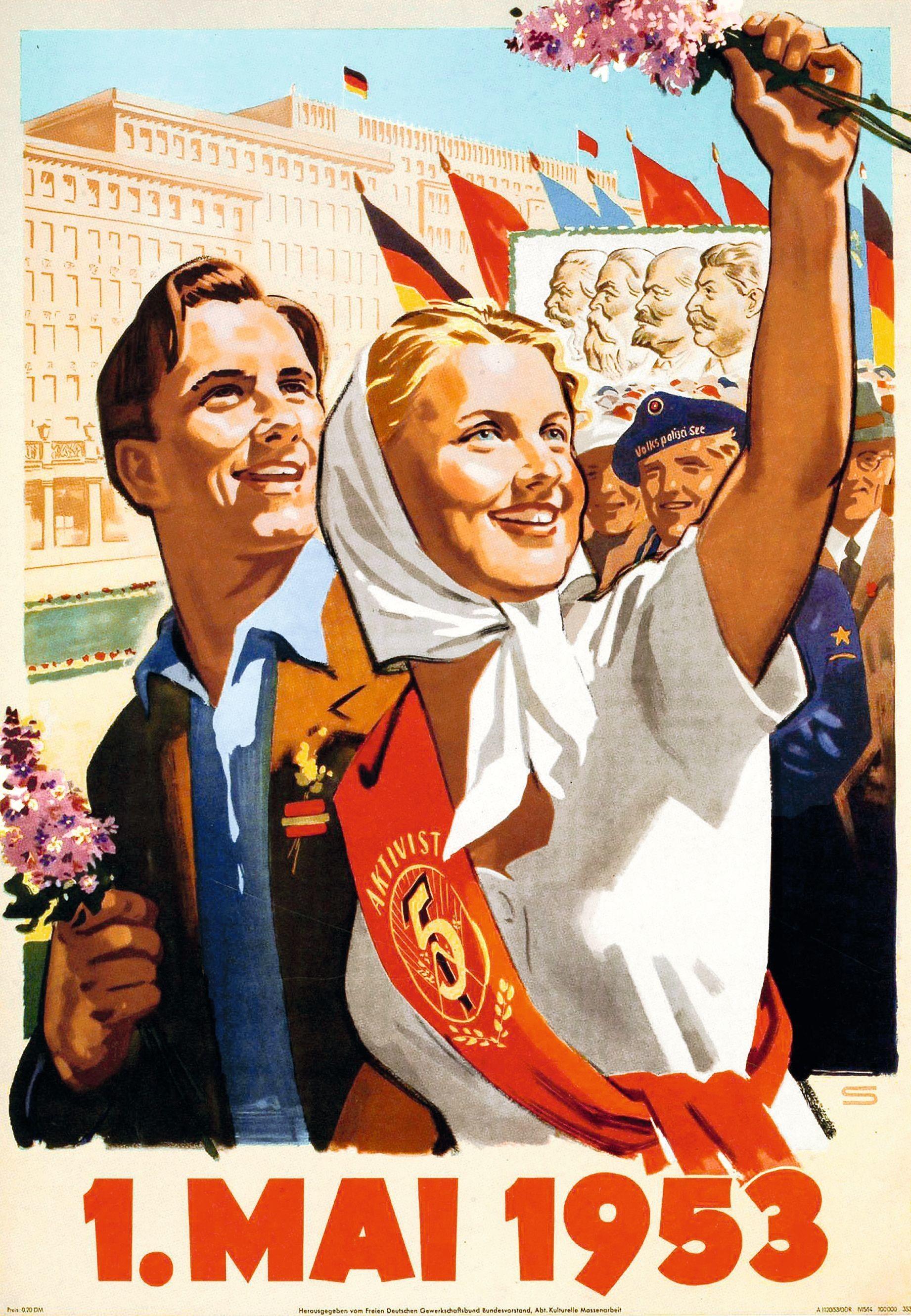 Affiche annonçant le défilé du 1er mai 1953 sur la Stalinallee, Berlin-Est, Deutsch Historisches Museum, Berlin