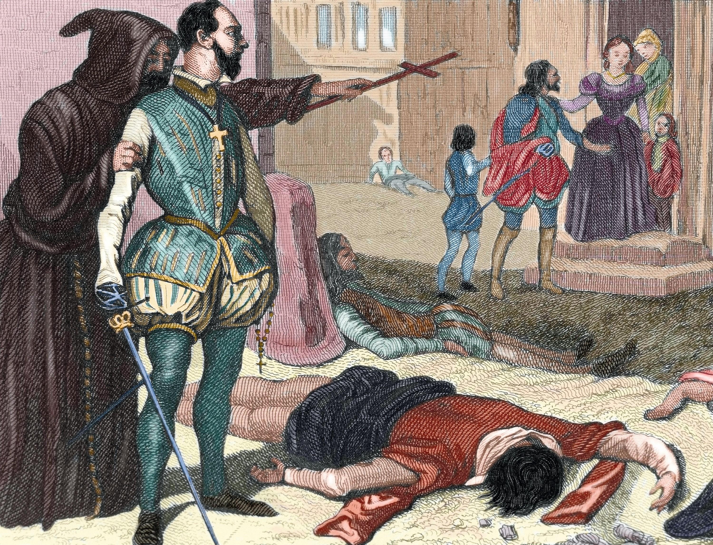 Anonyme, Un prêtre catholique enjoint un noble à tuer des protestants pendant le massacre de la Saint-Barthélémy, gravure colorisée, XIXe siècle.