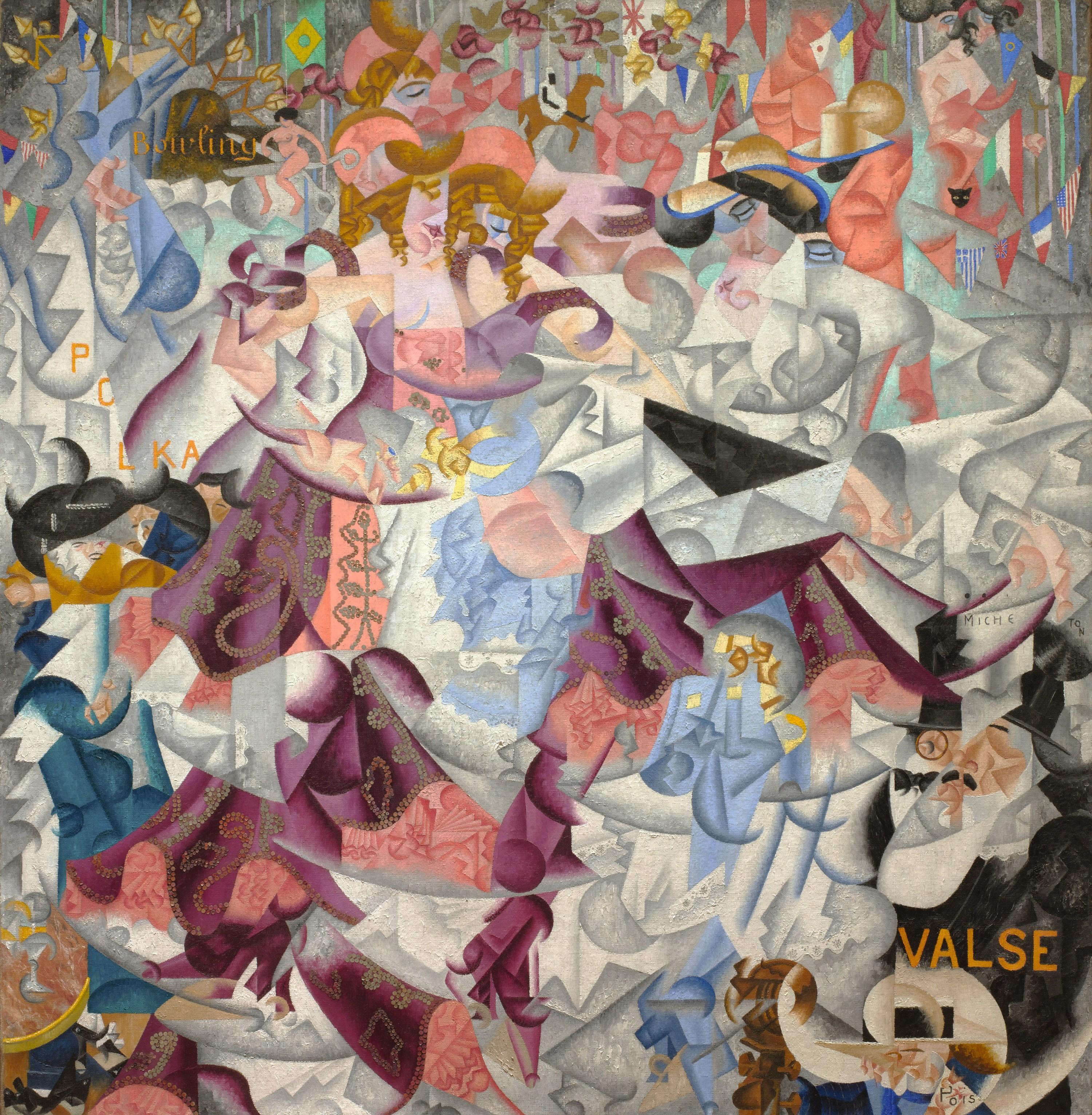 Gino Severini, Hiéroglyphe dynamique du bal Tabarin, huile sur toile avec paillettes, 161,6 × 156,2 cm, musée d'Art Moderne, New York, 1912.