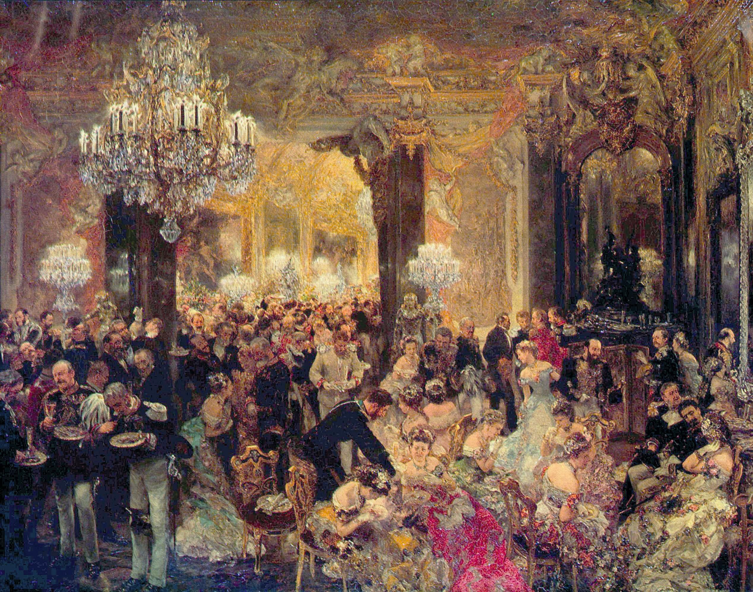 Adolph von Menzel, Dîner de bal, huile sur toile, 71 × 90 cm, Alte Nationalgalerie, Berlin, 1878.