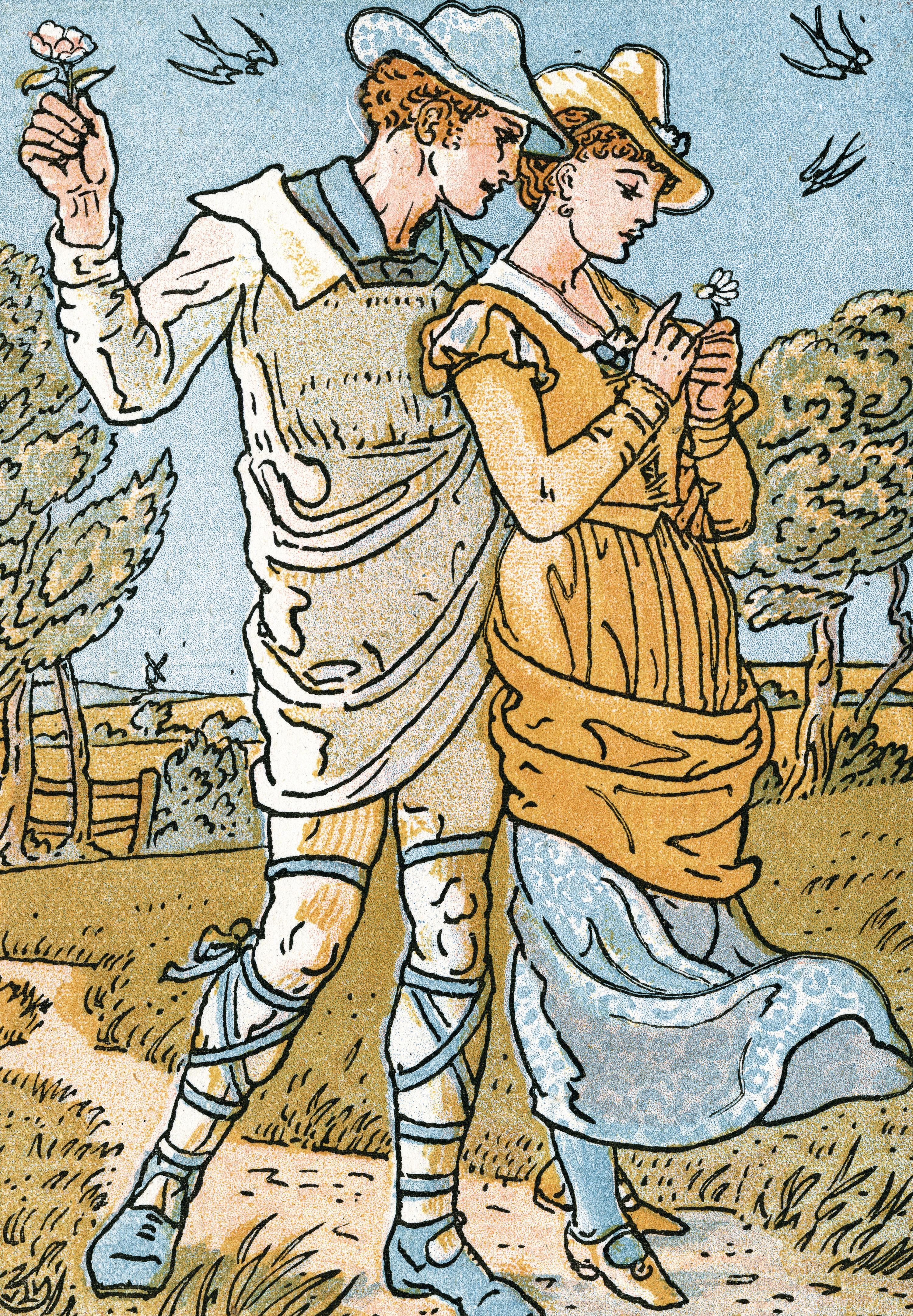 Walter Crane, illustration pour « It was a Lover and his Lass », chanson tirée de Comme il vous plaira de Shakespeare, 1884, lithographie en couleur, coll. privée.