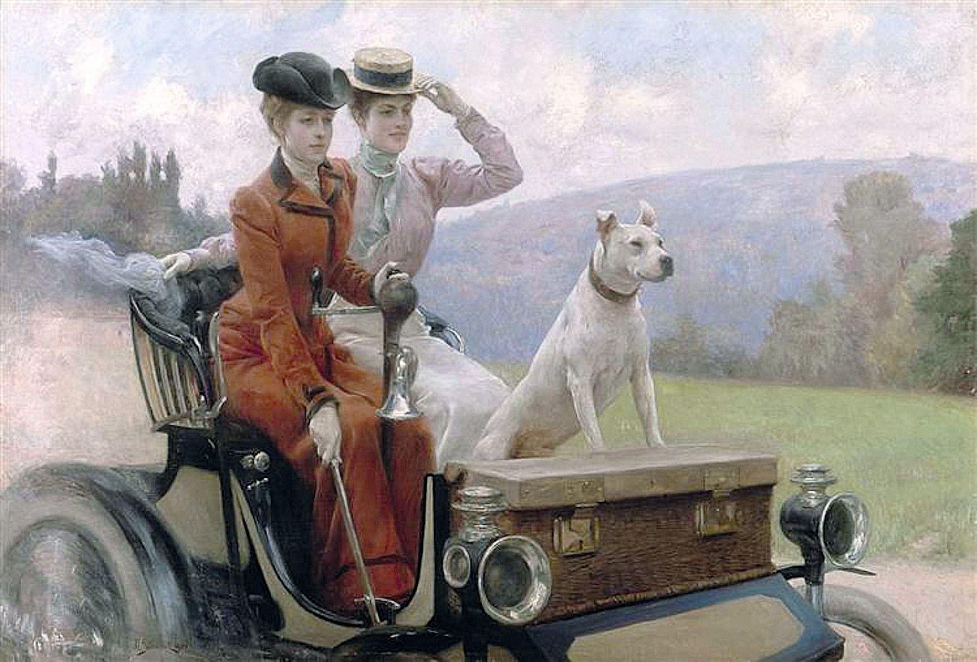 Julius LeBlanc Stewart, Les Dames Goldsmith au bois de Boulogne en 1897 sur une voiture Peugeot