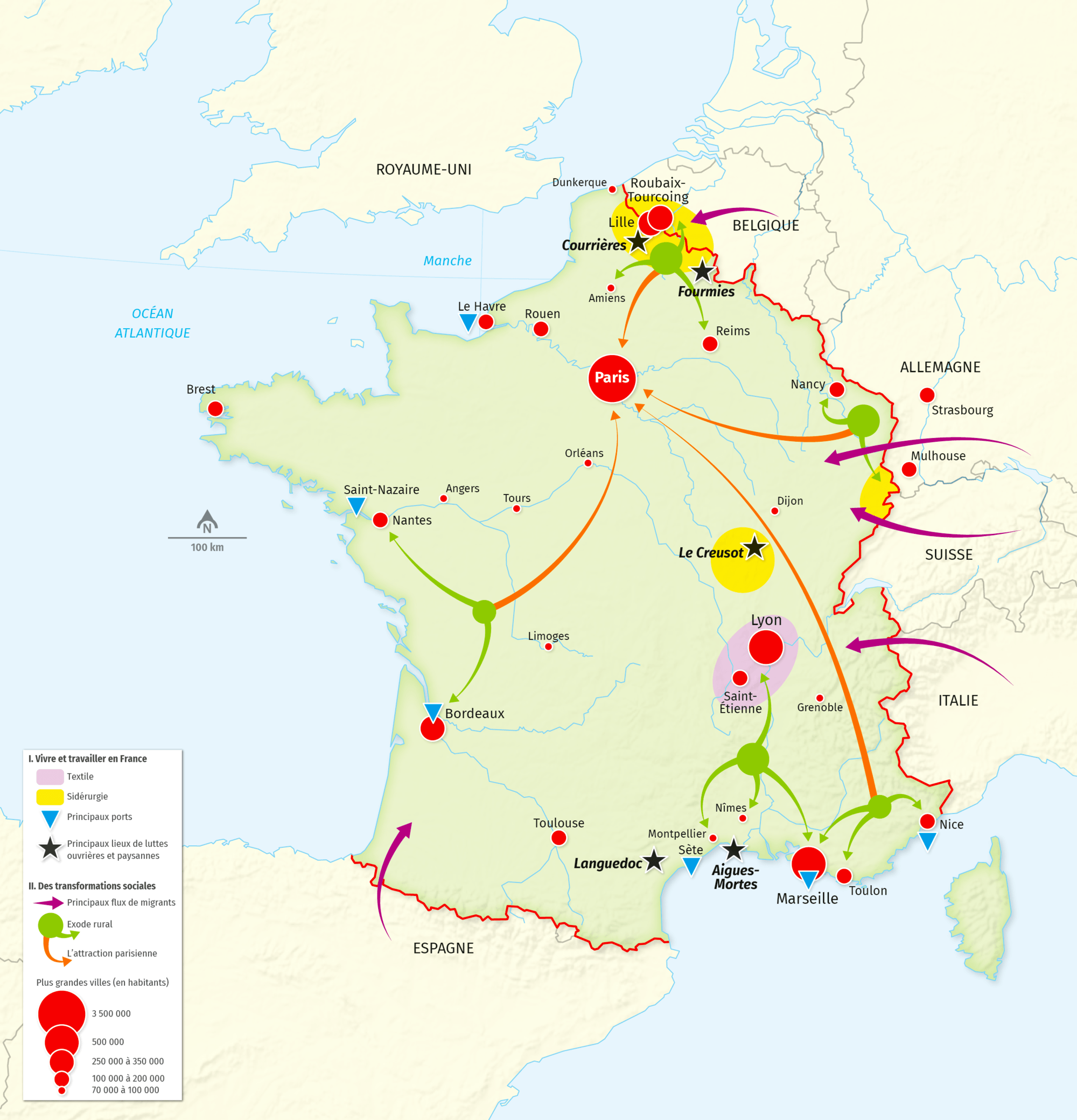 carte La construction de la France contemporaine