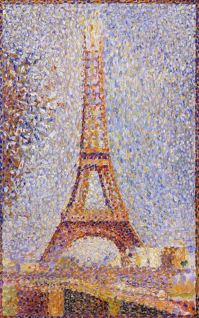 La Tour Eiffel en construction Georges Seurat, La Tour Eiffel, 1889, huile sur toile, 24 x 15 cm, musée des Beaux-Arts, San Francisco.