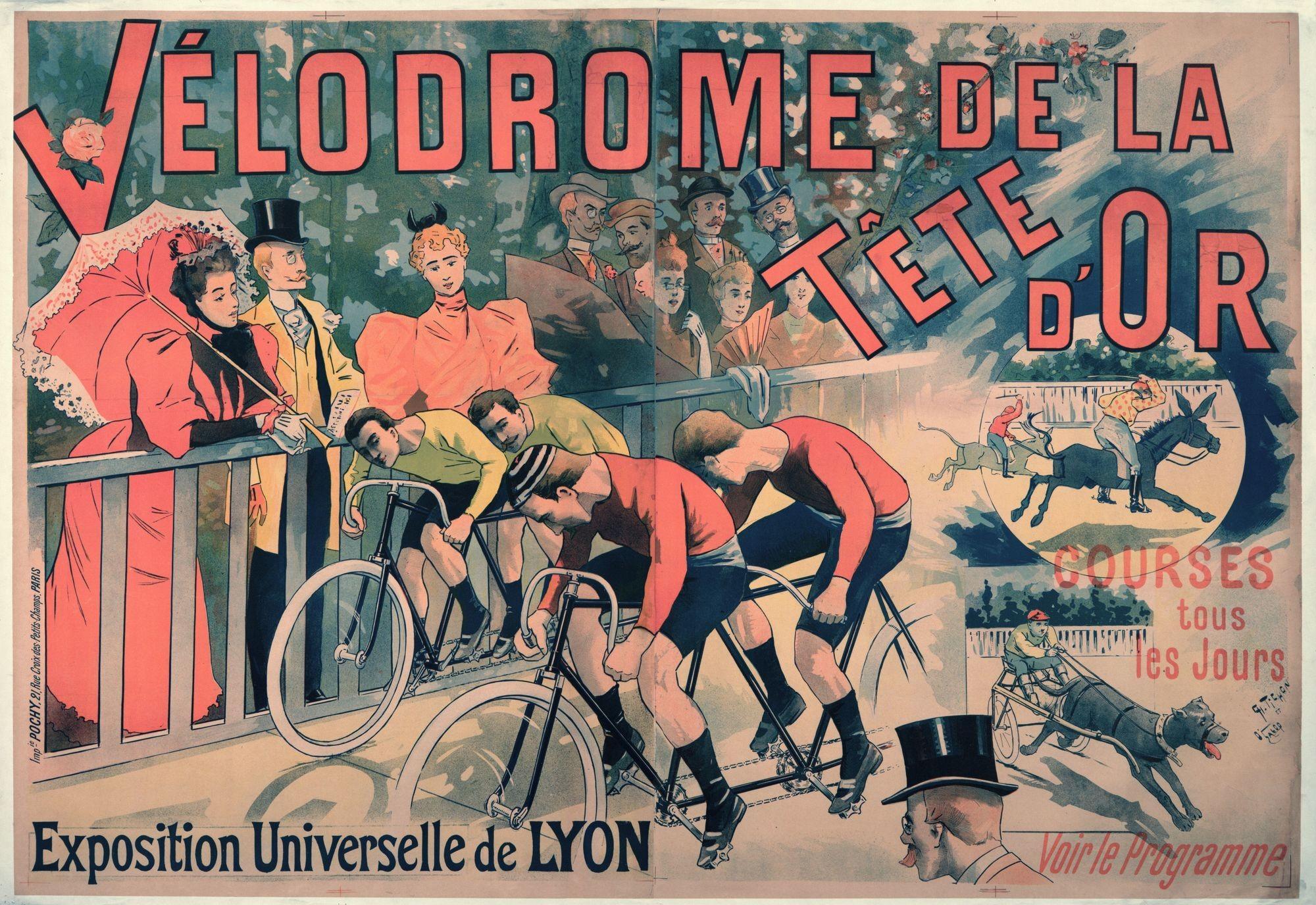 Affiche pour le vélodrome du parc de la Tête d'or à Lyon, 1894, Archives municipales de Lyon.
