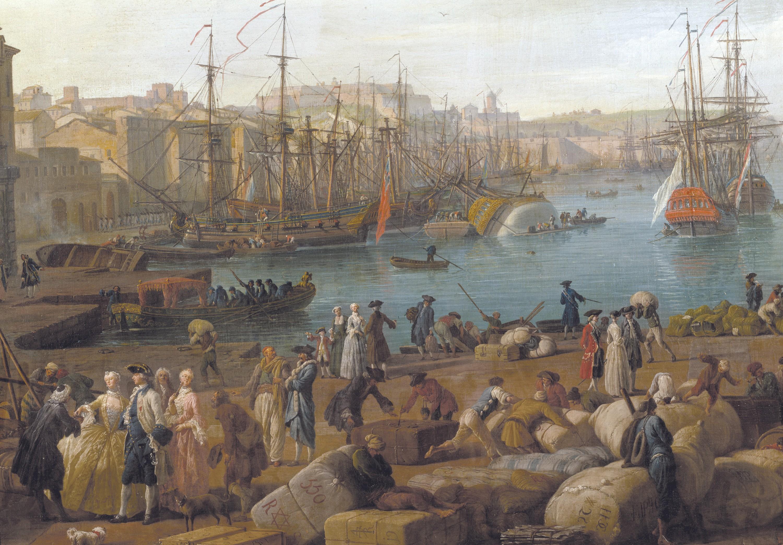 Joseph Vernet, Le port de Marseille au XVIIIe siècle, 1754, huile sur toile (détail) toile complète : 165 x 263 cm, Musée de la Marine, Paris