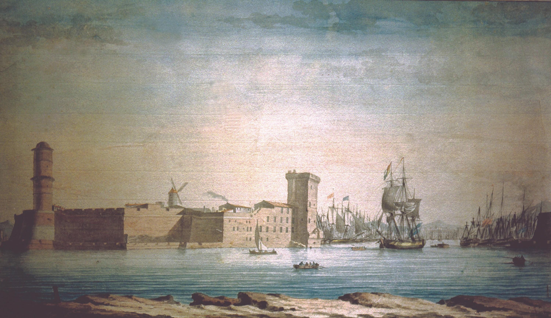 Antoine Roux, Le port de Marseille, vers 1800, aquarelle