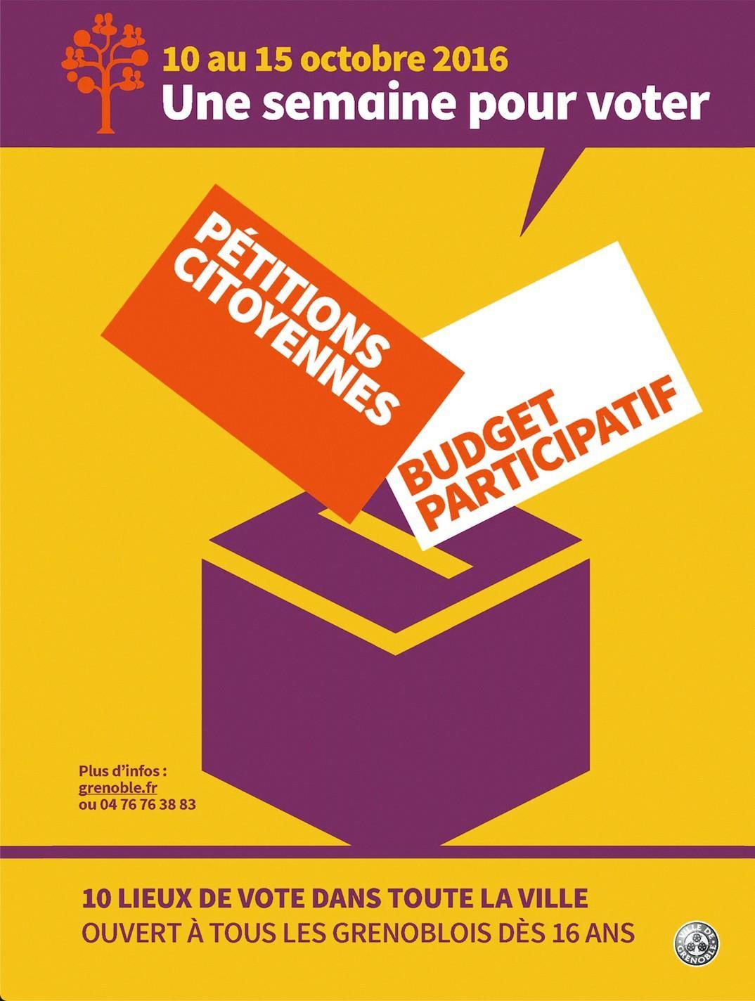 Affiche pour des initiatives de démocratie participative à Grenoble en 2016.