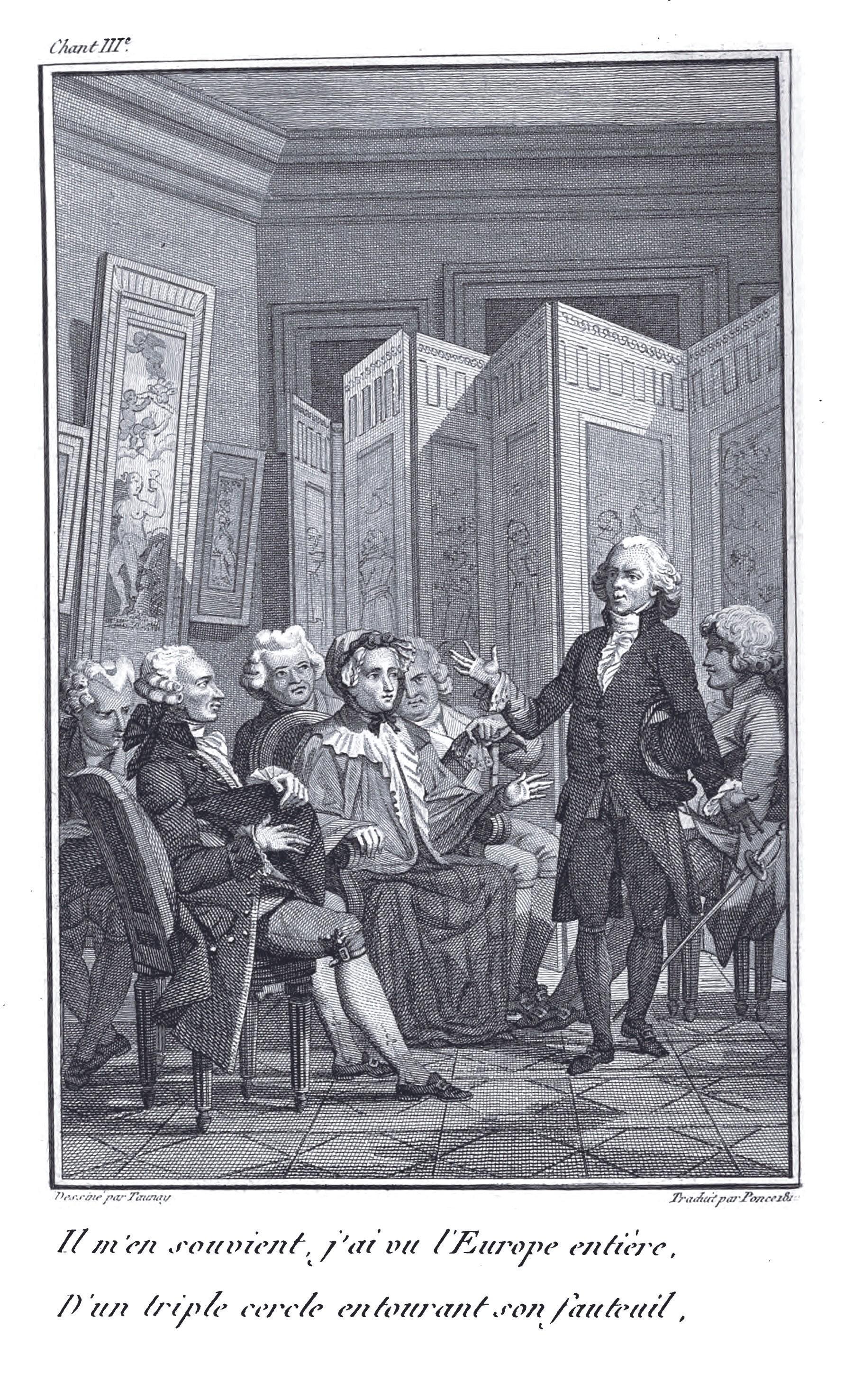 Jacques Delille récitant des vers dans le salon de Mme Geoffrin, gravure anonyme du XIXe siècle