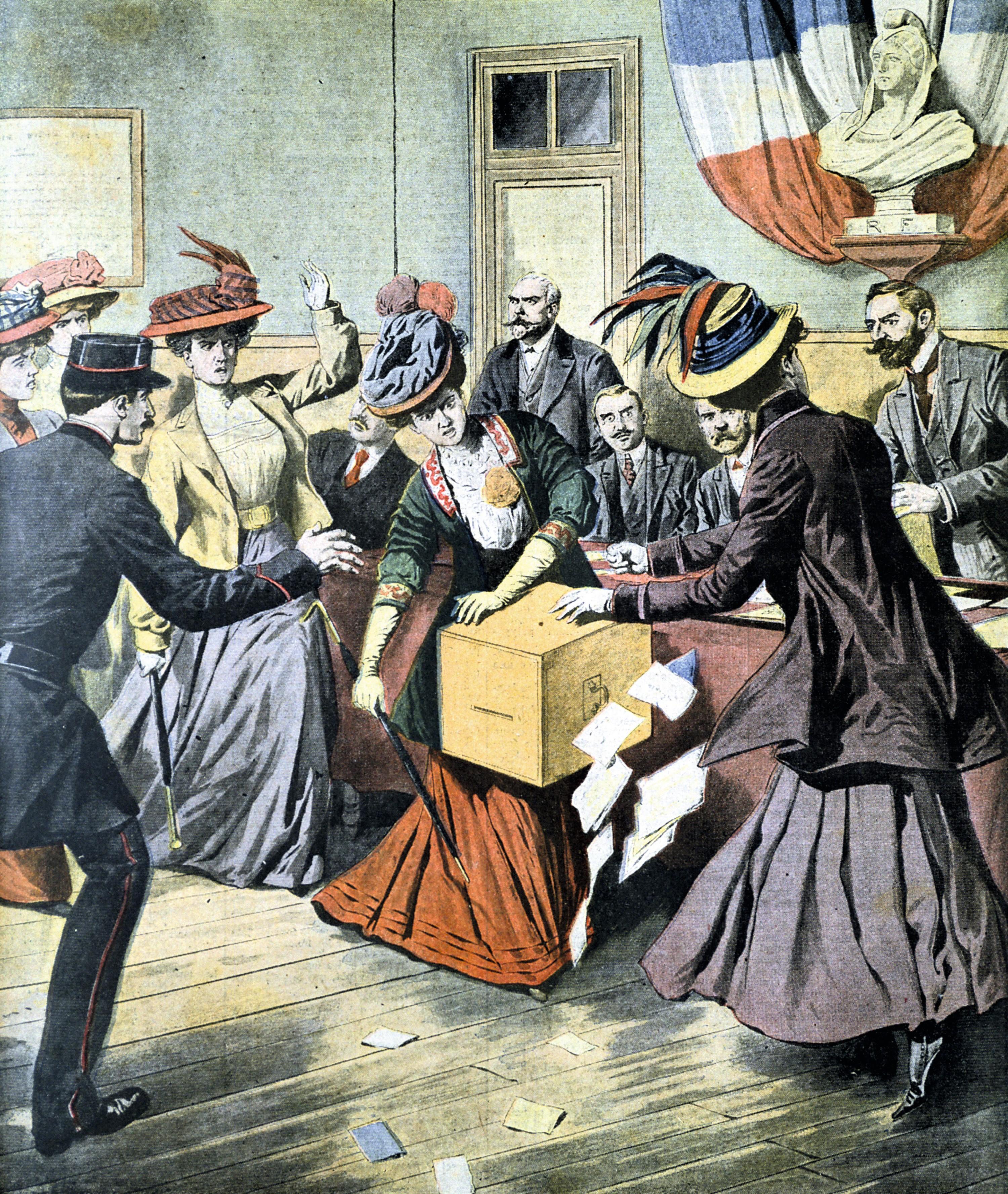 L'action féministe : les « suffragettes » envahissent une section de vote et s'emparent de l'urne électorale, une du Petit Journal : supplément illustré, n° 913, 17 mai 1908.