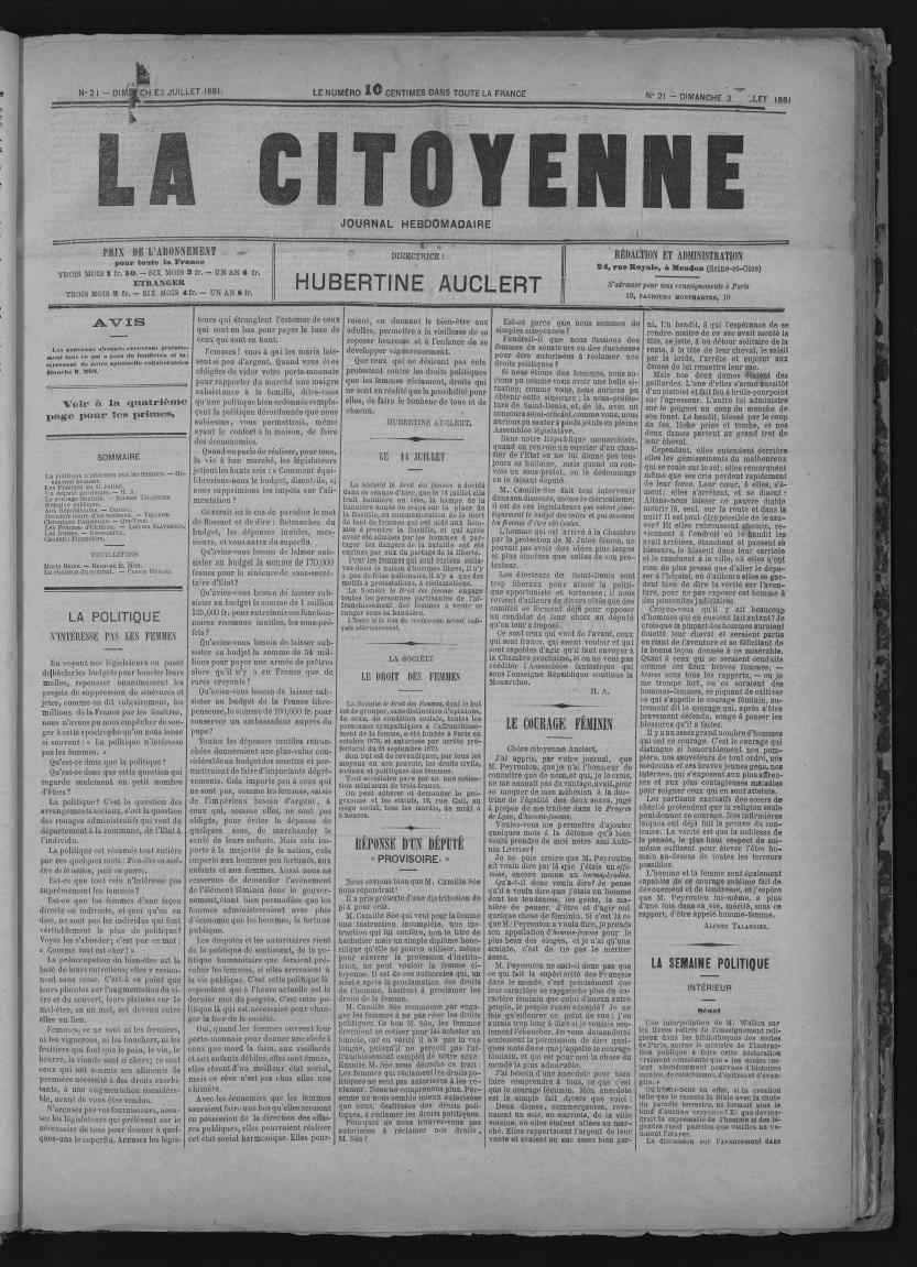 Une du journal militant, La citoyenne, du 3 juillet 1881, fondé par Hubertine Auclert en 1881