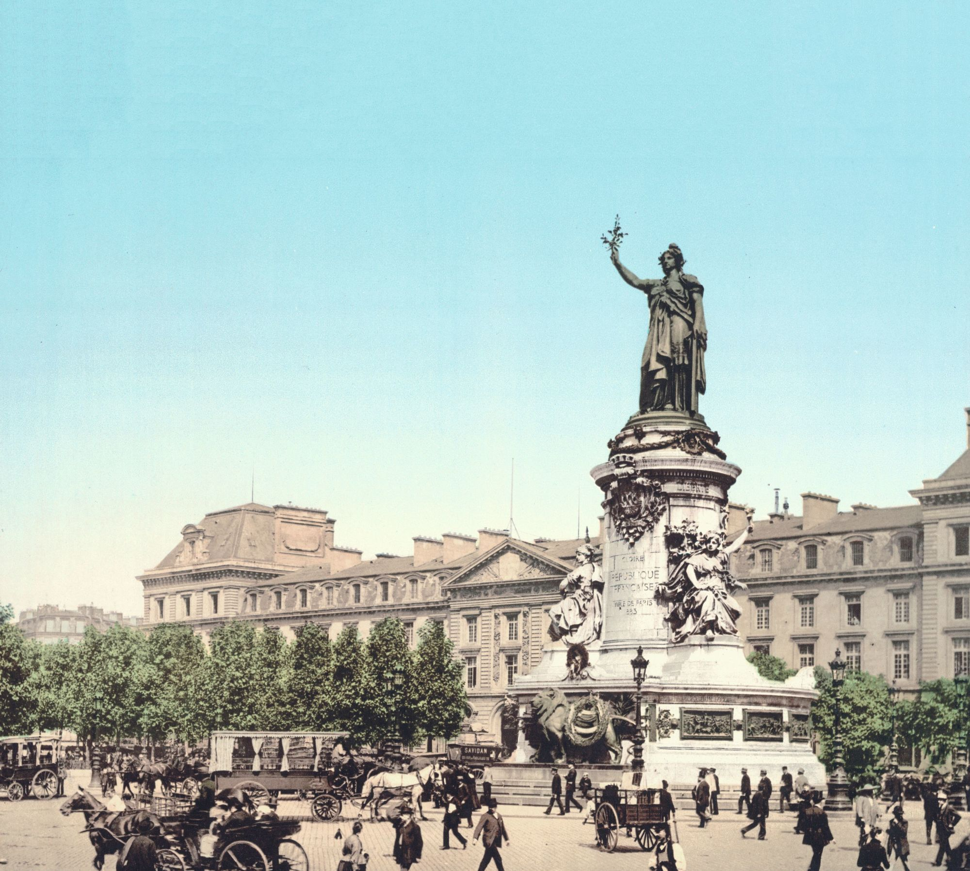Place de la République, photochrome anonyme