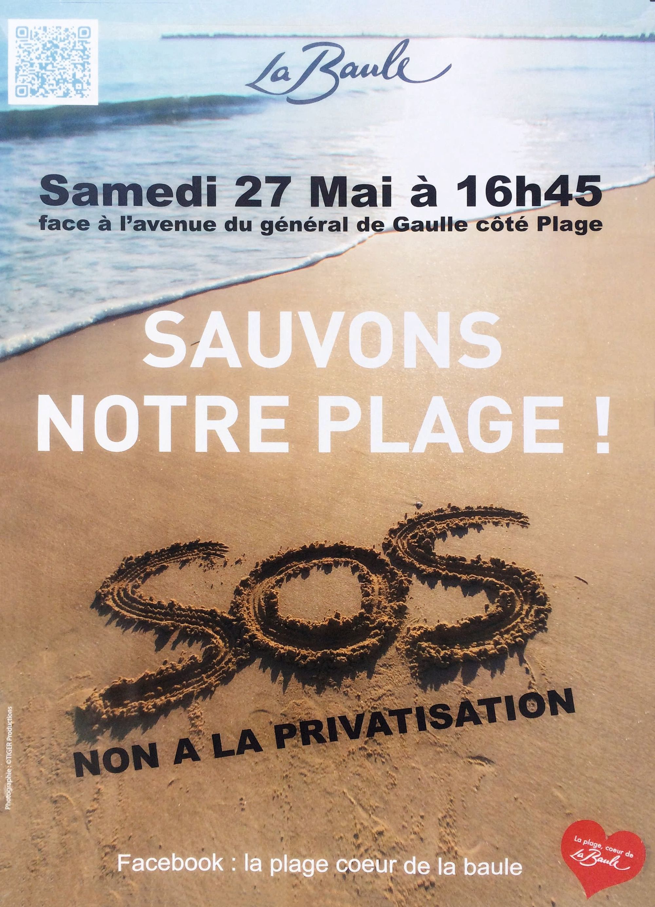 Affiche appelant à une manifestation contre la « privatisation » de la plage en 2017.