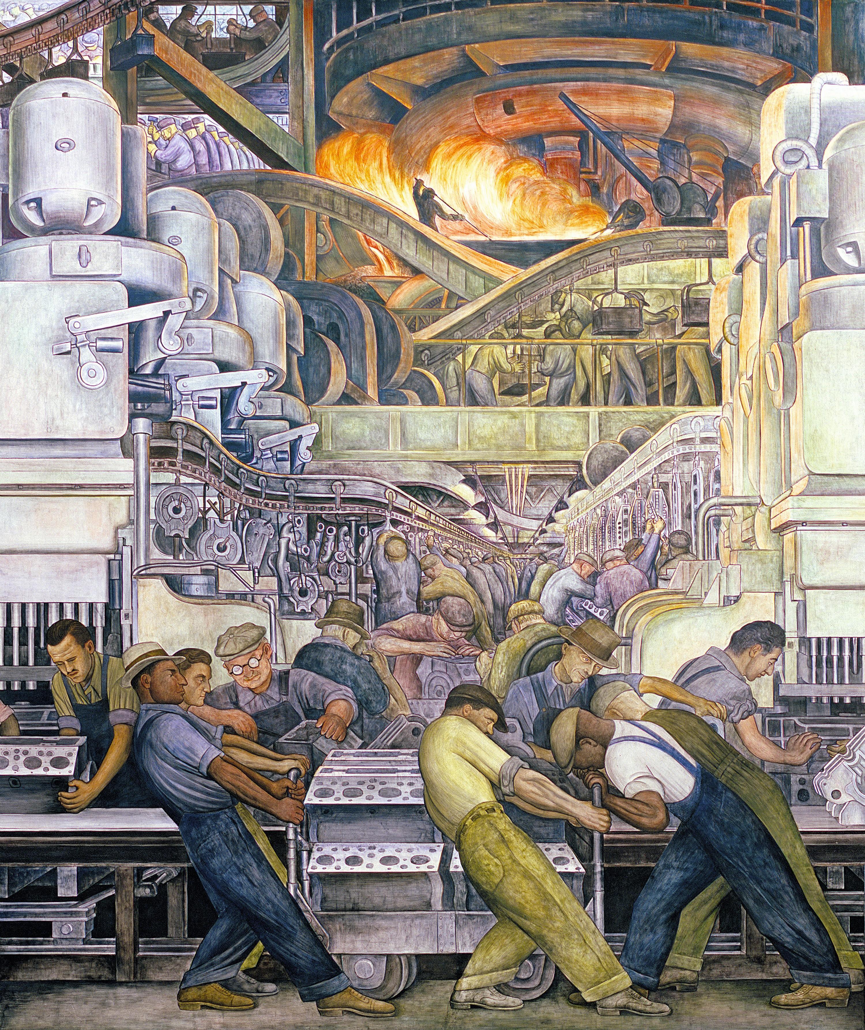 La production industrielle vue par Diego Rivera dans « L'Industrie de Détroit »