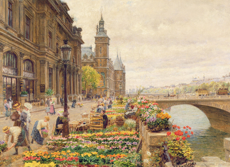 Marie-François Firmin-Girard, Le Quai aux fleurs, 1875.