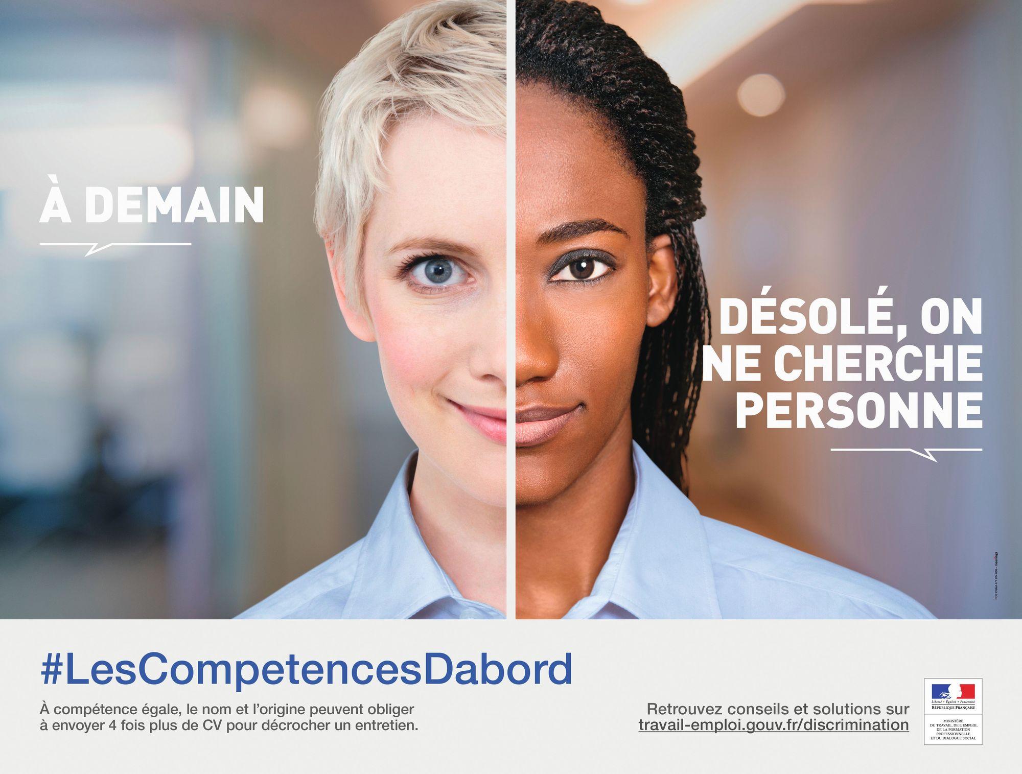 Campagne d'affichage du ministère du Travail, de l'Emploi, de la Formation professionnelle et du Dialogue social, « #LesCompetencesDabord », avril 2016.