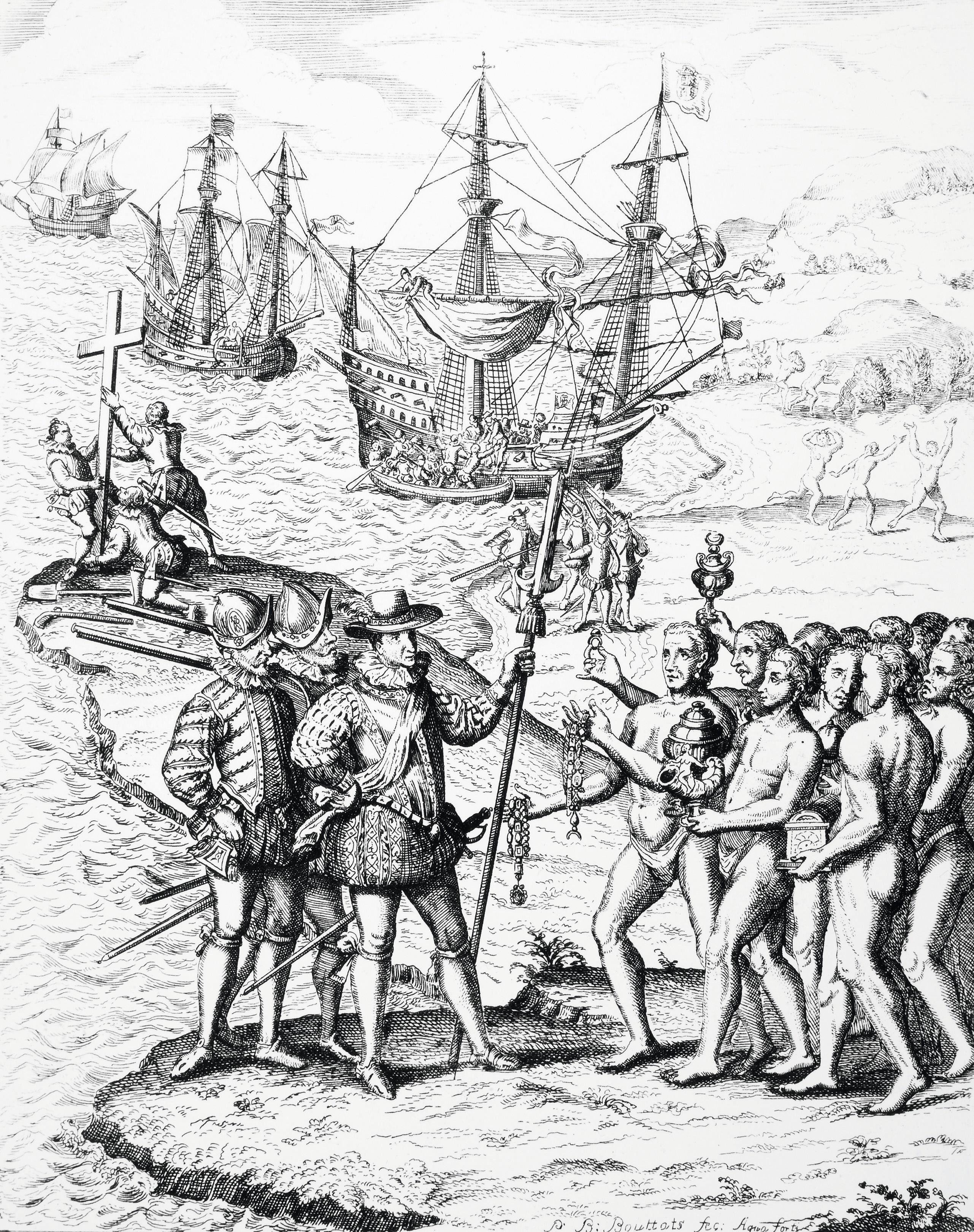 Colón desembarcando en la isla de La Hispaniola, y respondes a esta persona. 1492, grabado español, 1728.