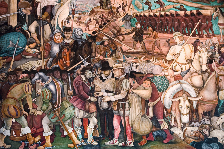 Diego Rivera, Colonización o Llegada de Hernán Cortés a Veracruz, Palacio Nacional de México, 1951.