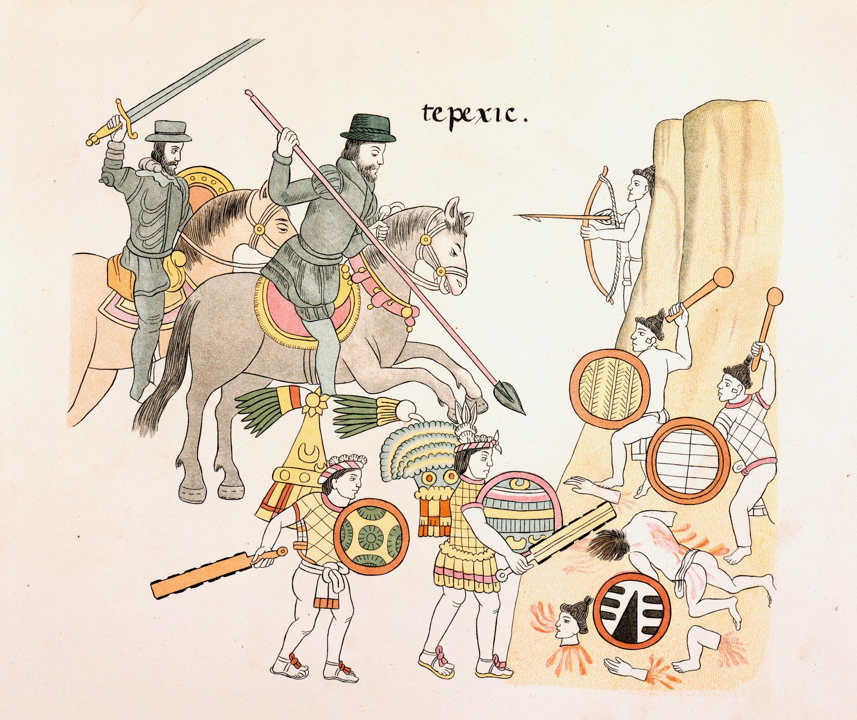 Españoles luchando contra los aztecas, Homenaje a Cristóbal Colón, British Library, Londres, 1892.