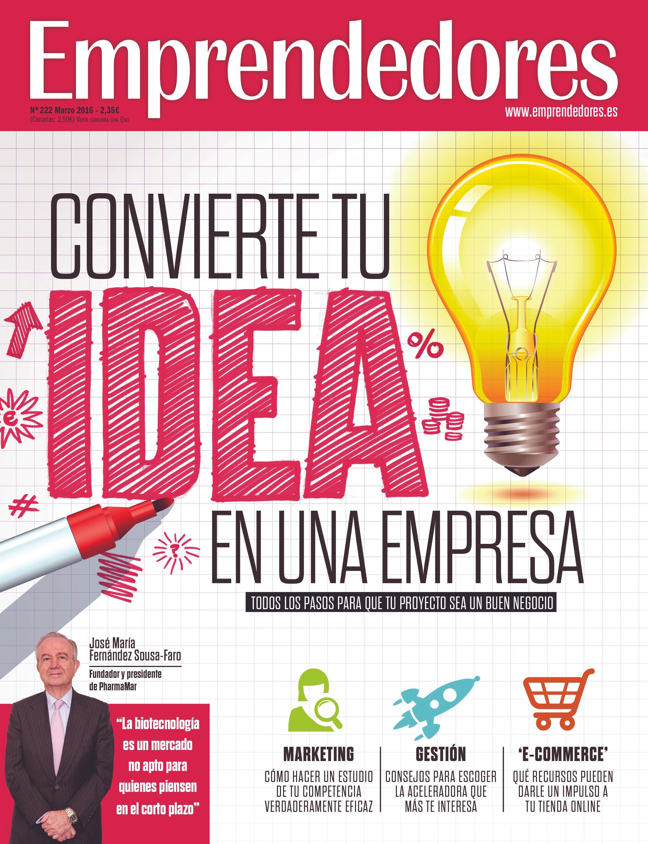 Portada de la revista Emprendedores, 2016.