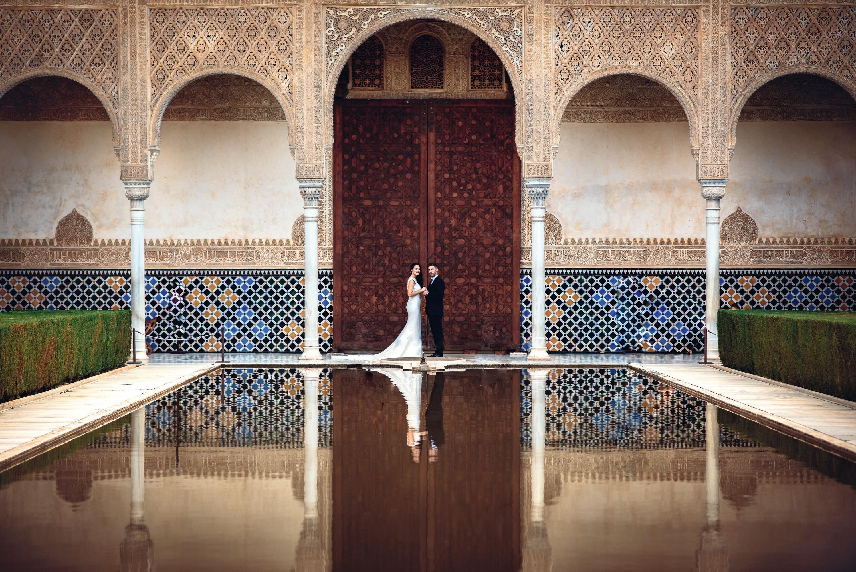 Foto de boda en la Alhambra, Granada, 2018.