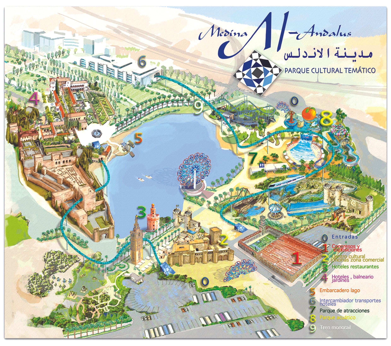 Mapa del proyecto de Parque Cultural Temático Al-Ándalus en Tánger, 2015.